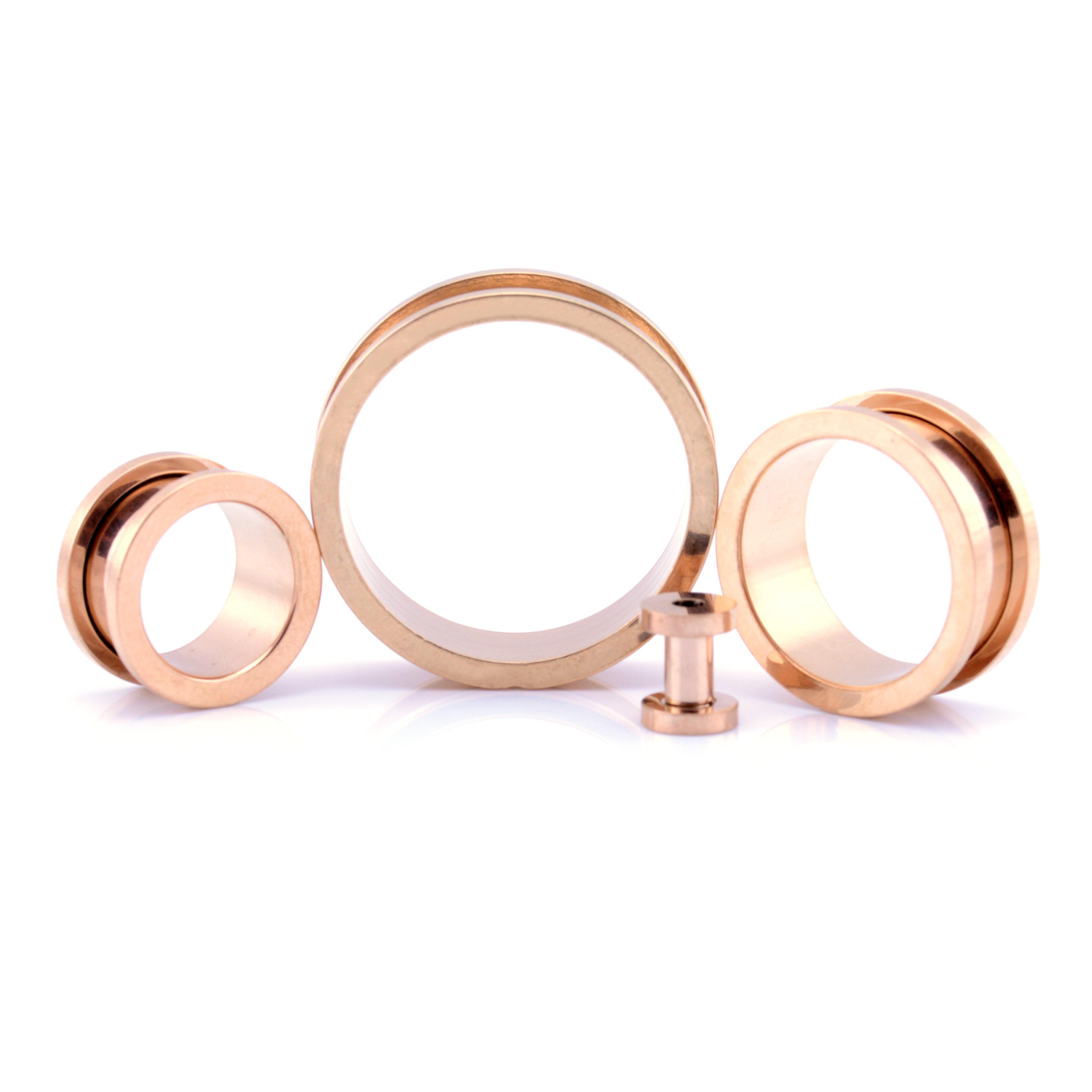 Surgical Steel Screw-fit Dangle Tunnel Pink Rose Quartz Stone teardrop 6-30mm