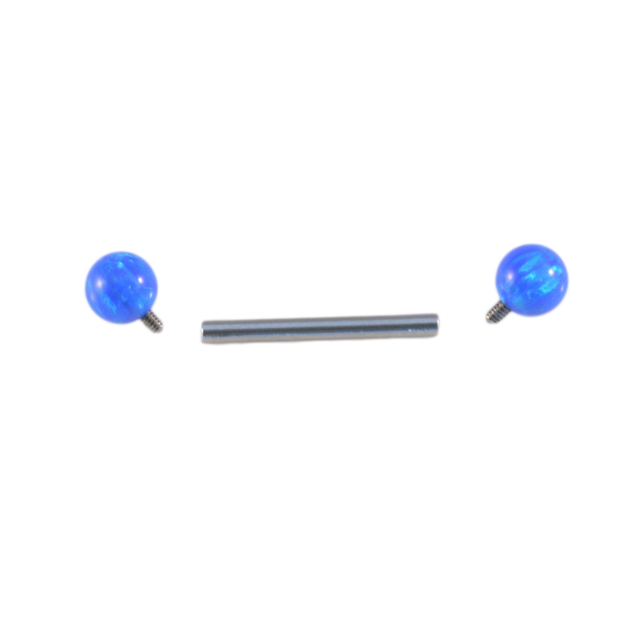 INTERNALLY THREADED TITANIUM BAR WITH SYNTHETIC OPAL BALLS ~ 1.6mm NIPPLE TONGUE