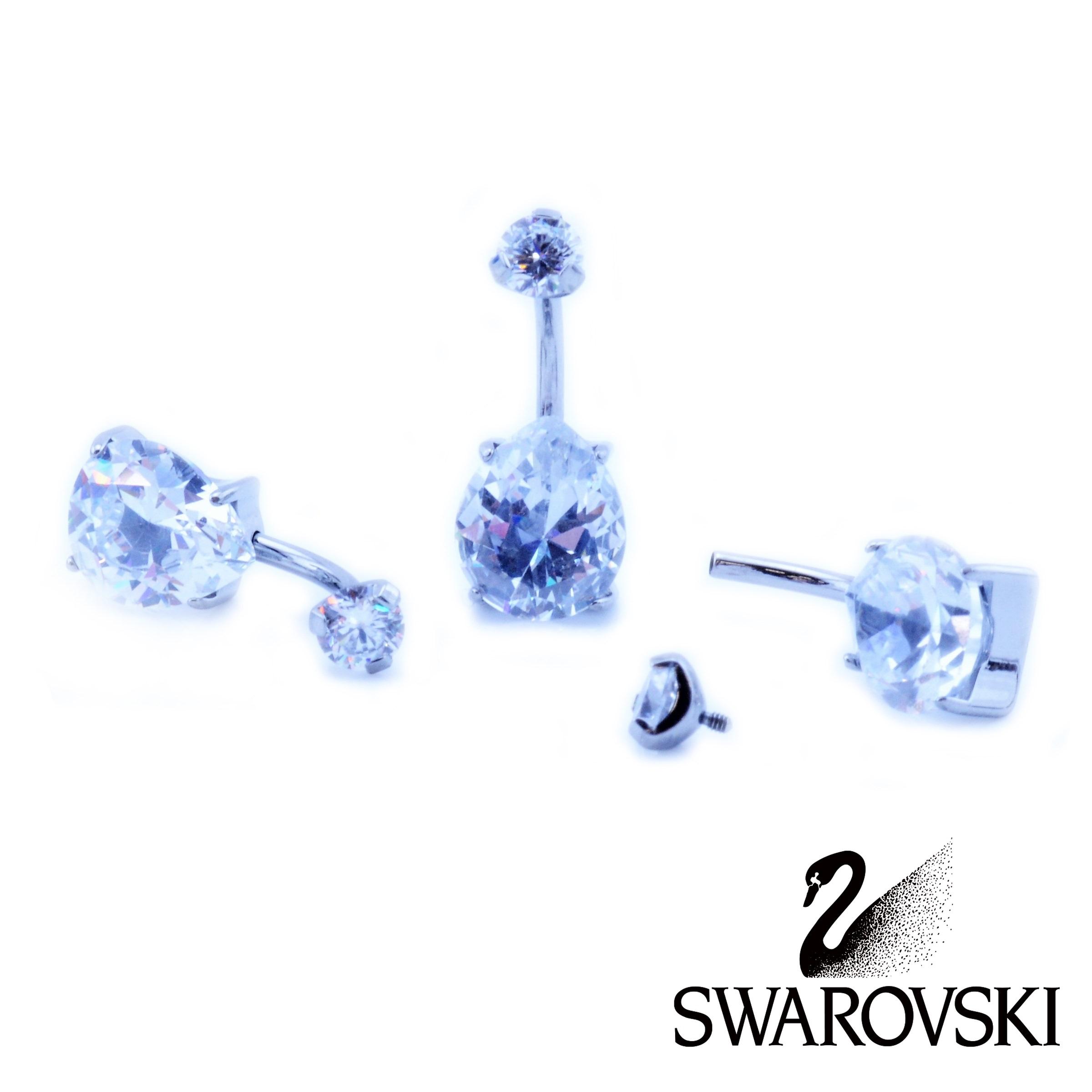 san francisco professional sale hot-selling discount Swarovski Crystal Tear Drop Belly Bar